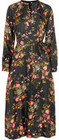 Isabel Marant Olympia Floral-print Silk-twill Midi Dress - Black