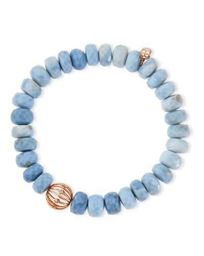 Sydney Evan 10mm Faceted African Opal Bead Bracelet with 14k Ball Spacer