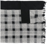Y's checked fringed scarf