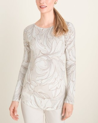 Chico's Neutral Floral Bateau-Neck Pullover Sweater
