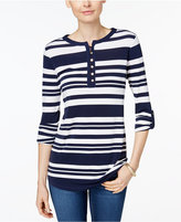 Charter Club Striped Henley Top, Only at Macys