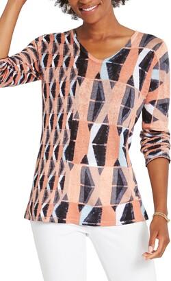 Nic+Zoe Kriss Kross Geo Pattern Sweater