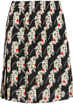 Prada Floral-print Pleated Cady Skirt - Black