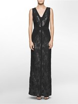 Calvin Klein V-Neck Lace Sequined Gown