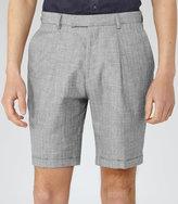 Reiss Reiss Roman S - Herringbone Shorts In Grey