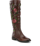 Gianni Bini Myala Leather Floral Embroidery Slim Shaft Boots