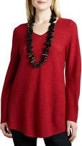 Eileen Fisher Wool Shirttail V-Neck Tunic