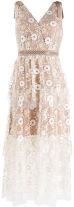 Self-Portrait V-nack sheer lace dress