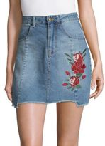 MinkPink True Beauty Denim Vintage Cotton Mini Skirt