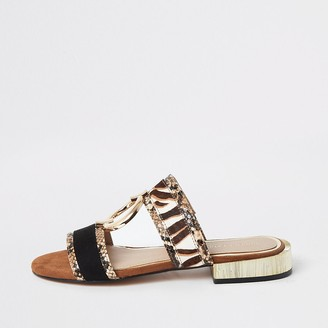 River Island Brown snake print flat sandals