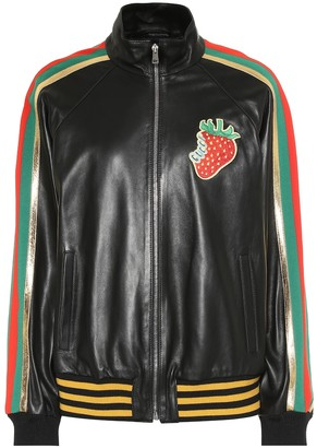 Gucci AppliquAd leather bomber jacket