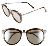 Le Specs Women's 'No Smirking' 50Mm Round Sunglasses - Tortoise/ Silver Mirror