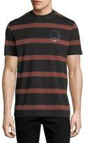 McQ Striped Logo T-Shirt, Black/Red/Brown