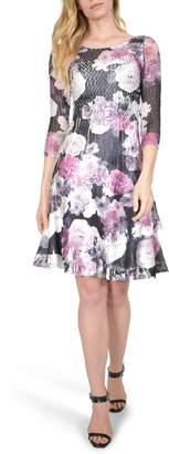 Komarov Floral Charmeuse A-Line Dress