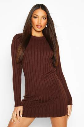 boohoo Crew Neck Rib Knit Mini Dress