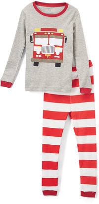 Elowel Boys' Sleep Bottoms red/grey - Red Fire Truck Pajama Set - Toddler