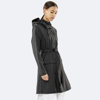 Rains Black PU and Polyester Curve Jacket - M/L