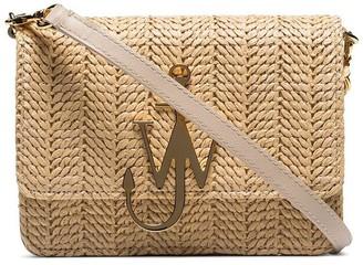 J.W.Anderson Beige Logo-Plaque Woven-Straw Bag