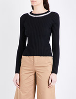 Mo&Co. Ribbed stretch-knit jumper