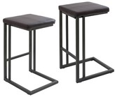 "Lumisource Roman Industrial 25""Counter Stool - Espresso - (Set of 2)"