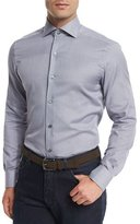 Ermenegildo Zegna Jacquard-Print Long-Sleeve Sport Shirt, Navy