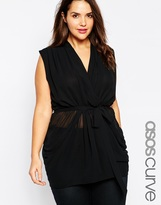 ASOS CURVE Exclusive Belted Wrap Top