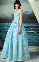MNM Couture - Embroidered Lace Sleeveless Pleated Gown G0793