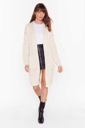 Nasty Gal Womens Just Go With Knit Pom Pom Longline Cardigan - white - S/M