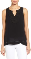 Willow & Clay Crochet Neck Split Back Sleeveless Shirt