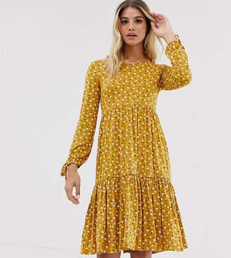 Wednesday's Girl midi smock dress with tie cuffs in daisy print-Yellow