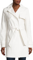 T Tahari Belted Lace-Back Trenchcoat, Spring White