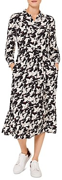 Hobbs London Eliana Bird Print Shirt Dress
