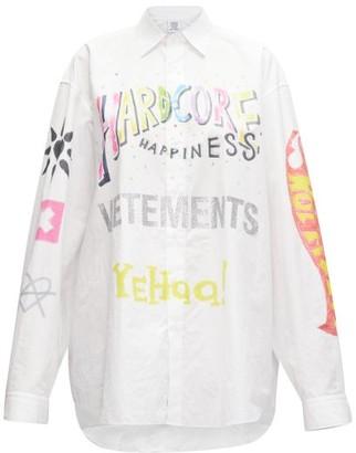 Vetements Oversized Printed Cotton-poplin Shirt - Womens - White Multi