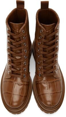 Gianvito Rossi Tan Croc Martis Boots
