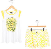 Roberto Cavalli Girls' Lemon Print Sleeveless Shorts Set w/ Tags