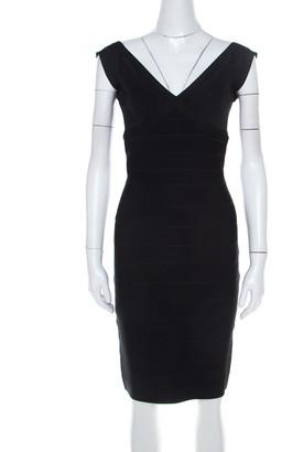 Herve Leger Black Stretch Knit Karima Bandage Dress XS