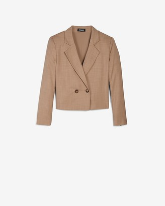 Express Cropped Double Breasted Long Sleeve Blazer