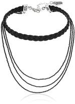 "King Baby Studio Heartbreaker"" Braided Leather Choker with Multi Strand Spinel Choker Necklace"
