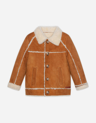 Dolce & Gabbana Single-Breasted Jacket In Cognac-Colored Merino Shearling