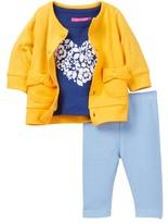 Isaac Mizrahi Heart Flocked Tee, Pointelle Bow Cardigan & Knit Denim Pant Set (Baby Girls 12-24M)