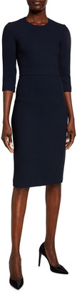 Michael Kors 3/4-Sleeve Crepe Sheath Dress