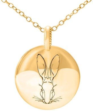 Hargreaves Stockholm Bracteate 18ct Gold Large Engraved Disc Pendant