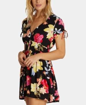 Billabong Juniors' Ruched-Sleeve Button-Down Dress