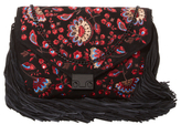 Loeffler Randall Signature Embroidered Suede Lock Clutch