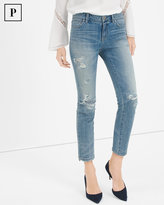 White House Black Market Petite Destructed Straight Crop Jeans
