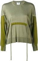 Kenzo panelled tie waist sweater - women - Cotton/Polyethylene/Viscose - S