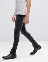 Asos Super Skinny Jeans With Satin Side Stripe In Washed Black