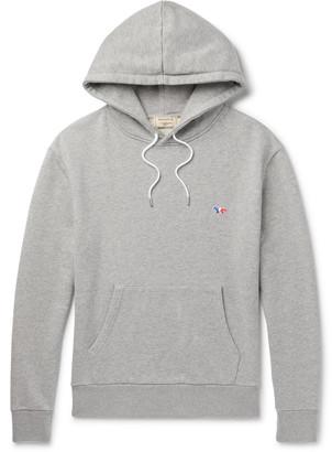 MAISON KITSUNÉ Logo-Appliqued Melange Loopback Cotton-Jersey Hoodie