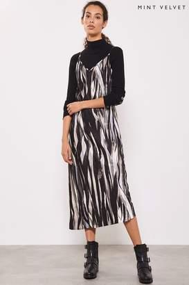 Mint Velvet Womens Grey Agnes Print Midi Slip Dress - Grey