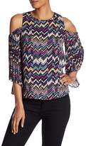Laundry by Shelli Segal Cold Shoulder Printed Top